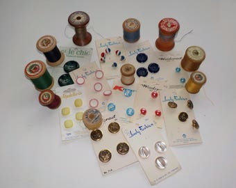 Sewing Notions, VINTAGE  Button Cards, Vintage Spools of Thread...LOT 7