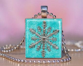 Silver Snowflake Scrabble Jewelry. Snowflake Charm.  Snowflake Necklace. Snowflake Pendant.  Snowflake Key Ring. Handmade. #126