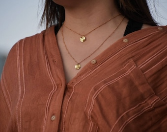 Gold disc necklace, Gold coin necklace, Gold circle necklace, Simple necklace