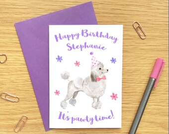 Poodle birthday card etsy poodle birthday card dog birthday card personalized birthday card dog lover birthday card poodle card bookmarktalkfo Gallery