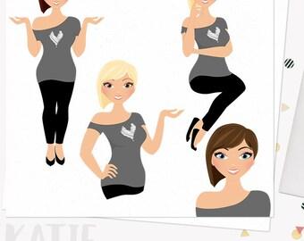 Rocker girl clipart, character avatar, web graphics, woman clip art, digital blog clipart, blonde, brunette and auburn set (Katie L223)