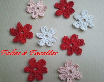 Crochet flowers in red, pink and off-white cotton blend
