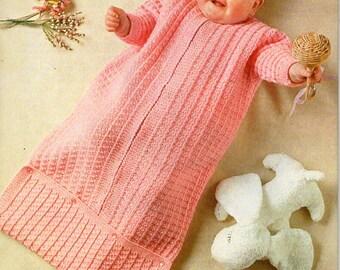vintage baby sleeping bag knitting pattern pdf download baby cocoon pram nest DK light worsted 8ply pdf instant download