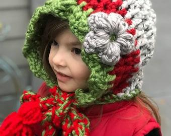 Little Girl Bulky Hood, Crochet Christmas hat