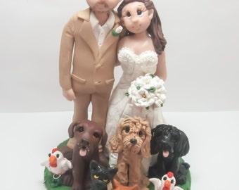Wedding Cake Topper - CUSTOM cake topper, FUNNY cake topper, Wedding figurines, wedding topper, dog cake topper,dog wedding cake topper