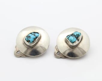 Vintage Kingsman Turquoise Earrings Sterling Silver Button Clip On. [7486]