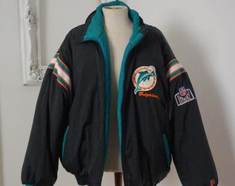Incredible Miami Dolphins Reversible Vintage NFL Insulated Jacket Men Sz XXL