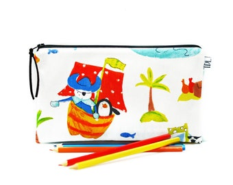 Pirate pencil case, Kids pouch, Animal bag, Baby shower gift, Gadget pouch, Bunny Pinguin, Children Zipper pouch, Kids gift, Back to school
