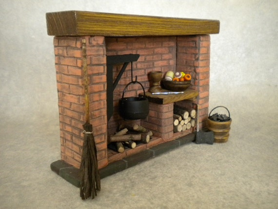 dollhouse miniature kitchen fireplace colonial tudor