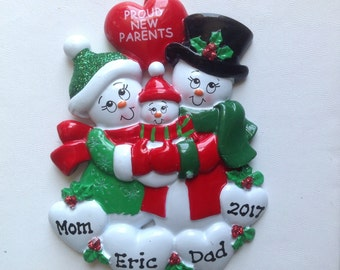 Personalized Christmas Ornament Snowman Couple Proud New Parents , Baby's First Christmas, Family of three, New Family
