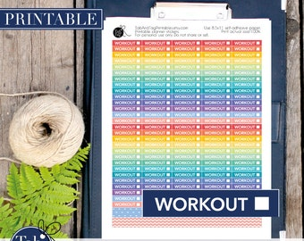 140 WORKOUT checkbox printable planner stickers in rainbow colors.  Printable Workout stickers for Erin Condren planner, Happy planner.