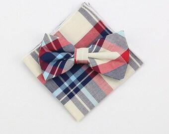 Pink Plaid Tartan Bow Tie & Pocket Square | cotton tartan bowtie | tartan plaid | tartan plaid wedding | wedding handkerchief | best man