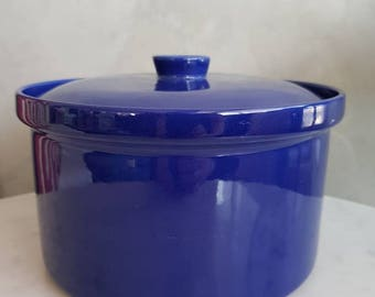 "Vintage Arabia of Finland "" KILTA""  Big Bowl with Lid, blue color  designed by Kaj Frank in 1952"