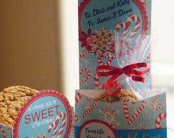 Cookie Sleeve, Christmas Cookie exchange package, Christmas cookie bags, cookie bags, Candy cane Sleeves. Sweet Christmas. Set of 10