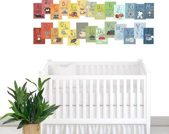 Alphabet Cards A to Z Animal Alphabet Card Set Nursery Wall Cards Animal Alphabet Flash Cards Alphabet Fine Art Prints, ABC Cards to hang