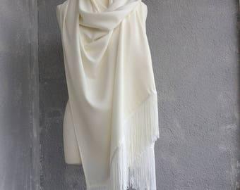 Ivory Wedding Stole, Boho Bridal Shawl, Pashmina Wedding Shawl, Oversize Shoulder Scarf, Fringed Shawl, Tassel Wrap Scarf, Winter Wedding