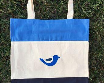 Blue Tote Bag, Bird Tote Bag, Teacher Tote, Bridesmaid Tote, Canvas Tote Bag, Blue Bird Tote Bag, Canvas Tote, Blue Tote, Blue Totes, Canvas