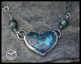 Heart turquoise pendant necklace, sterling silver (0.925), Hubei turquoise, Valentine's day necklace, 253