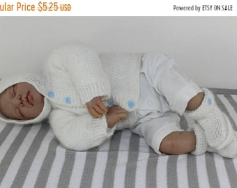 HALF PRICE SALE madmonkeyknits - Baby Fluffy Hoodie and Booties knitting pattern pdf download - Instant Digital File pdf knitting pattern