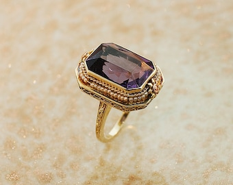 Antique Ring - Antique Amethyst Ring-14k Yellow Gold
