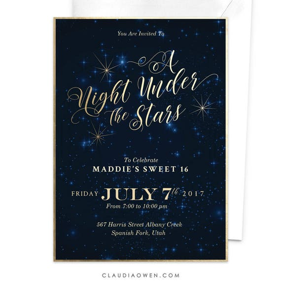 sweet 16 party invitation a night under the stars sweet