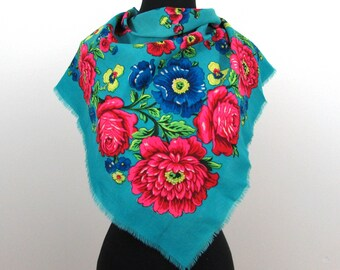 "Vivid wool floral scarf - 29"" square turquoise and multi-color flowers - 40s-50s"