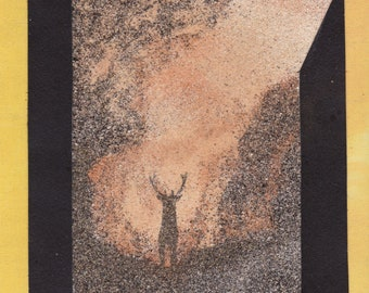 Natural sand painting 24x18 cm Stag Deer