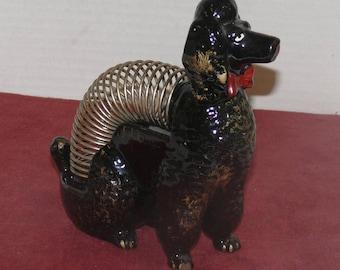 Poodle  Letter Holder Ceramic  Wire  - Vintage -Desk Accessory