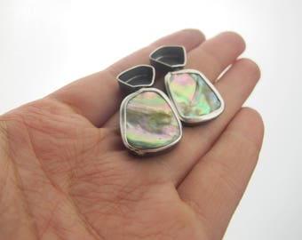 Iridescence - Sterling silver and abalone shell earrings - Contemporary jewelry - Gifts for her - Shell jewelry - Recycled sterling silver