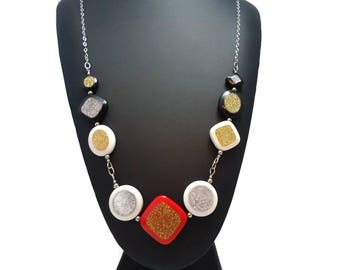 Bold Party Necklace Geometric Design, Red Black and White Necklace Long Sterling Chain, Celebration Necklace Silver and Gold Glitter