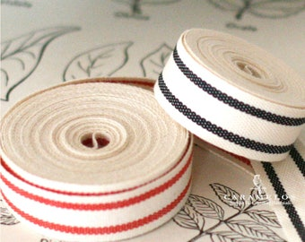 "Cotton French Stripe Ribbon 5/8"" Red or Black"