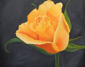 Yellow Rose. Print from Original Acrylic Painting.