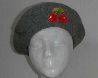 SALE! Grey cherries beret.