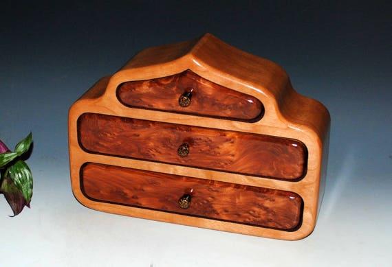 Handmade Wood Jewelry Box - Redwood Burl on Cherry -The Pagoda Box - Wooden Jewelry Box - Burl Wood Jewelry Box, Wooden Box, Gift Box, Boxes