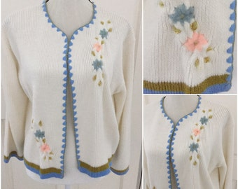Vintage 1960 Knit Cardigan With Embroidered Flowers  Large/XLarge