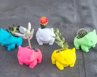 Bulbasaur Planter, bulbasaur plant pot, Christmas Gift, Bulbasaur, Pokemon go,  3D printed, Pikachu,  Adorable, cute,  geekery