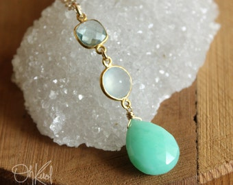 Teal Quartz, Aqua Chalcedony, and Mint Green Chrysoprase Gemstone Necklace - 14K Gold Fill