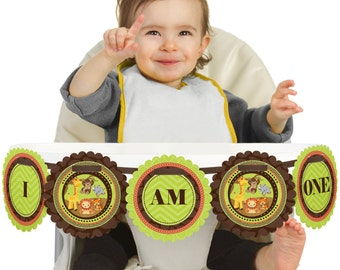 Safari Jungle - 1st Birthday - I Am One - First Birthday High Chair Banner - First Birthday Party Decorations