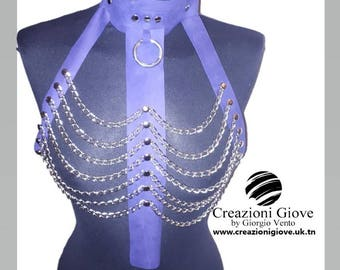 Harness in pure leather purple gothic color