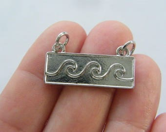 2 Waves sea connector charms silver tone SC159