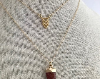 NEW - 14k filled - Layered triangles and sand stone charm - no tarnish