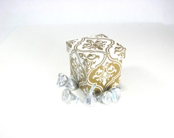 Miniature Trinket Box, Tall, Square, gold and white decoupage