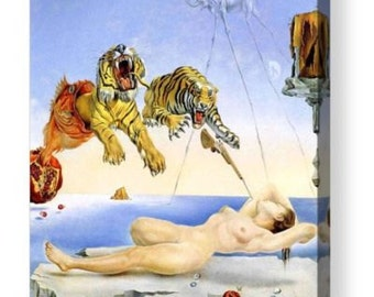 "Salvador Dali ""Dream caused by the Flight of a Bee"" Repro Canvas Box Art A4, A3, A2, A1"