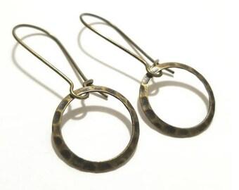 Loop Antique Bronze Pendant Earrings with Kidney EarWire, Hoop,Minimal, vintage