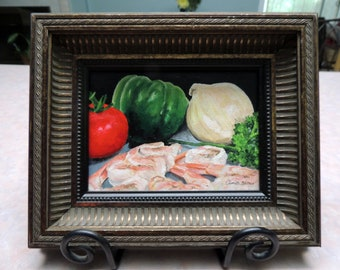 "ON SALE NOW!  Framed painting - ""Gumbo prep""   5"" x 7"", Louisiana still life - oil on panel"