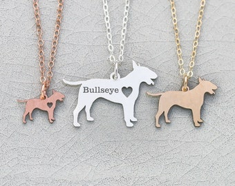 Bull Terrier Necklace • Terrier Pendant Sterling Silver Dog Breed Rescue Dog Personalized Jewelry Dog Cutout Rose Gold Dog