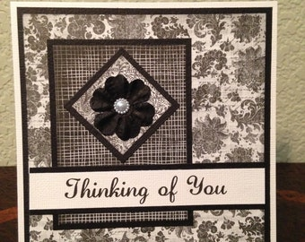 Thinking of You, Black and White, Layered Card, Blank Inside