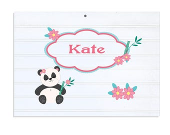 Personalized White Vintage Childrens Room Sign Panda Bear-WRS-323