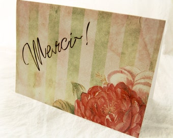 Merci Cottage Roses - Blank 4x5.5 Thank You Note Card, Single or Set of 4 -Blush Pink Sage Green French Shabby Chic Floral