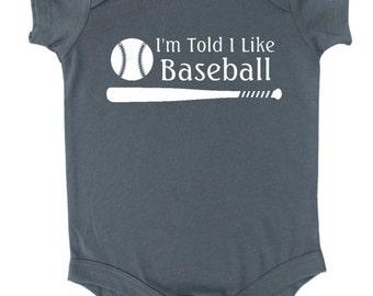 I'm Told I Like Baseball Silhouette Baby Bodysuit